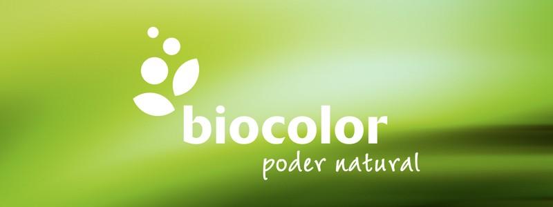 biocolor logotipo sobre fondo de color