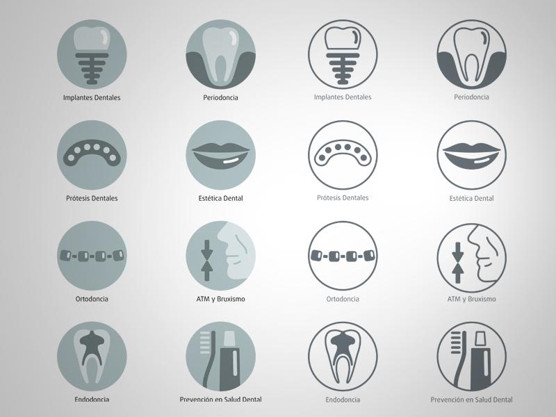 CABELLO clínica dental iconos